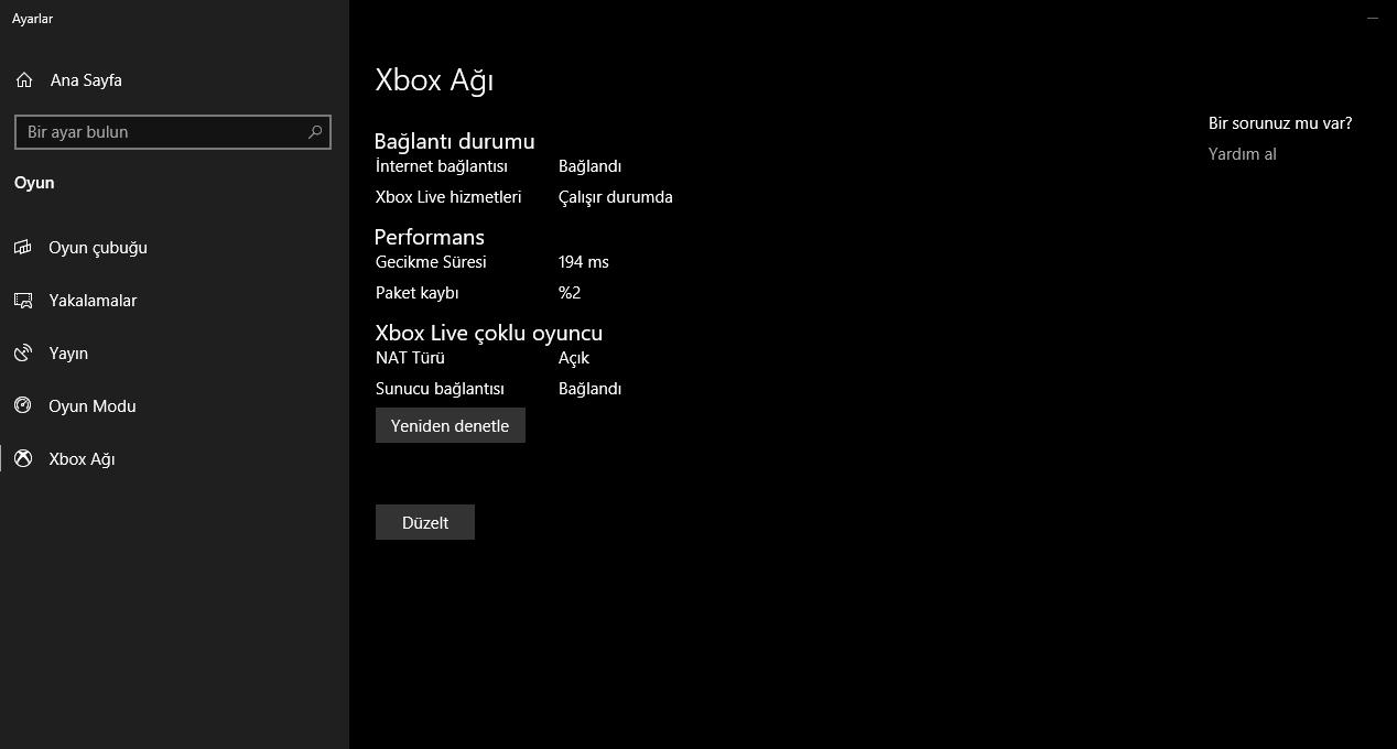 Oh çektiren düzgün Xbox ayarları